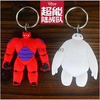 leather key ring - 2015 AAA quality BIG HERO baymax doll women men toy car key chain key ring Pendant bag accessories leather Ring Keyfob giftTOPB2340