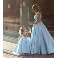 Wholesale 2016 Popular Mother and Daughter Dresses A Line Full Length Family Dresses Alikes Custom Made Handmade Floral Cap Sleeves for Cute Girls