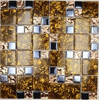 amber glass tile - KTV bar backdrop paste mosaic rose gold crystal glass mosaic tile mosaic of amber grain