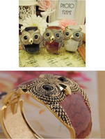 Wholesale wish_team colors Enamel Vintage Owl Cuff Bangle Bracelet Wide Eye Black Owl Bracelet Women s Fashion Jewelry W313