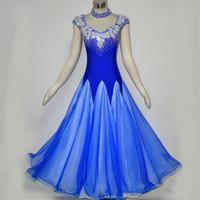 Wholesale Ballroom Dance Competition Dresses New Style Formal Modern Dance Dress Light Blue XLSize Ballroom Waltz Tango Dance Dress