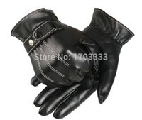Wholesale Trustworthy New Men Luxurious PU Leather Winter Super Driving Warm Gloves Cashmere Free Size TE01