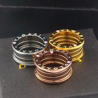 Wholesale Fashion brand k rose gold titanium elastic spring finger rings luxury jewelry for men women statement jewelry