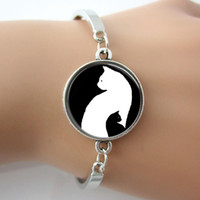 best cat art - Black and White Cat Bangle Bracelet Jewelry White and Black Cat Silhouette Yin Yang Glass Dome art Pendant best Gifts New