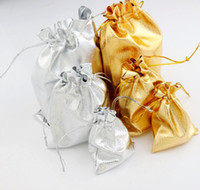 Favor Bags satin jewelry bags - Hot sell Silver Gold Plated Gauze Satin Jewelry Bags Jewelry Christmas Gift Pouches Bag X9cm x12cm x18cm
