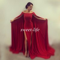 wine grapes - Off the Shoulder Evening Dresses Wine Red Front Split with Cloak Sweep Train Chiffon Arabic Style Women Formal Pageant Dress Prom Gowns