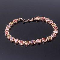 ba shops - angle shop GULICX Fashion Crystal Braceltes for Women K Gold Plated Beautiful Wedding Bracelets Colorful Zircon Bracelet Ba