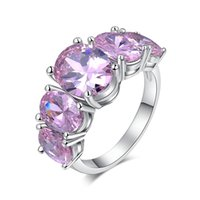 Wholesale white gold plated Pink Simulated Gemstone Engagement Rings For Women Fine Wedding CZ Diamond Jewelry Luxury Bague MSR159