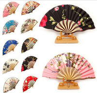 hand fans - Pretty Flowered Chinese Craft Handheld Folding Hand Fan Style