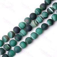 6-10mm verde opaco pulido piedra ágata raya natural mayor-venta al por mayor Onyx gema granos flojos redondos granos de la manera la fabricación de joyas