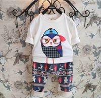 100 cotton white t shirt - 2015 Spring Boys Girls Long Sleeve T Shirts Cartoon Owl Print Tshirts Cotton Children Tees Kids Clothing Tops White Gray Red K3401