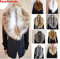 Wholesale Knitted Fashion Shrug - Hot NEW 13 Colors Womens Shrug Winter Fashion Faux Fur Collar Scarf Warm Shawl Wrap Stole Cape new arrive free shipping