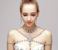 Wholesale Luxury High Quality Silver Rhinestone Bridal Shoulder Chain Necklace And Earrings For Wedding Dresses Charming Bridal Accessories Cheap
