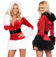 Wholesale Sexy Lingerie Sexy long sleeve Santa Hoodie Costume christmas cosplay uniform party dresses