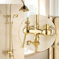 Wholesale New golden Brass Bathroom Shower Faucet W White And Blue Porcelain Hand Shower single Handles Rainfall Bath Shower Mixer HA01