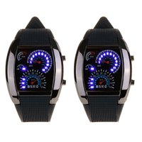 Wholesale 2015 Fashion Cool Flash LED Digital Watch Innovative Car Meter Air Race Sports Dial Led Electronic Binary Watches Mutilcolor