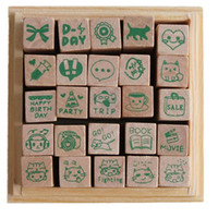Wholesale 25pcs Box Ceartive Funny Wooden Rubber Love Diary Happy Life butterfly heart baby DIY Stamp for Decor Scrapbooking DP676994