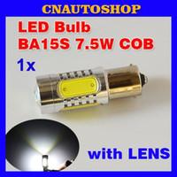 Wholesale 1 Piece BA15S W High Power COB with LENS LED Bulb S25 P21W Car Lights Auto Lamp V XENON White order lt no track