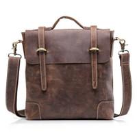 Wholesale Men s Crazy Horse Real Genuine Leather Messenger Shoulder Bag Briefcase Tote