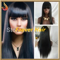 Wholesale 1 b Natural Color Silky Straight Human Hair Full Lace wig with bangs front lace wig with bangs density