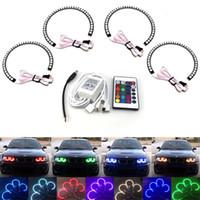 Wholesale 4 MM SMD LED Angel Eyes Kit Xenon Headlight RGB Multi color Light Ring Remote Control for BMW E36 E38 E39 E46