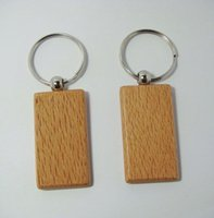 blank keyrings - Rectangle Blank Wooden Key Chains Promotion Carving Keyrings