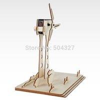 Wholesale Piece DIY Solar Turbine Wood Puzzle Educational Mechanical DIY Toy