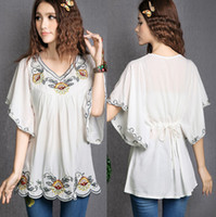 hippie clothing - 2016 Hot Sale vintage s Mexican Ethnic Floral EMBROIDERED Hippie Blouses Shirt Women Clothing Tops Tunic blusa Feminina