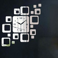 Cheap New Fashion Creative personality DIY Acrylic Home Furnishing decorated living room square mirror wall clock mute (silver)