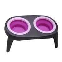 Wholesale Collapsible Pets Bowl Sets Foldable Dogs Elevated Tandem Drinker Feeder Bowls with Legs Dog Outdoor Carrier Products Pink