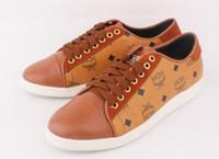 Wholesale MCM Men s shoes Visetos Fashion Brown Urban Nomad Low Top Sneakers Shoe Colors q019