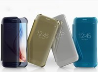 Wholesale Official Flip smart sleep wake case Mirror view clear PC Transparent cover For Samsung Galaxy S6 and S6 Edge case with packing