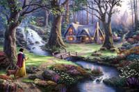 al por mayor white canvas art-Snow White descubre la cabaña Thomas Kinkade Pinturas al óleo Lámina En Lienzo No Frame. NO.172
