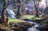 Wholesale Snow White discovers the cottage Thomas Kinkade Oil Paintings Art Print On Canvas no frame NO