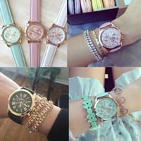 Wholesale 2015 Luxury Geneva watches Roman Numerals Watch Wrist watch Faux leather Colorful Candy Cute quartz Exquisite wrist For men womens