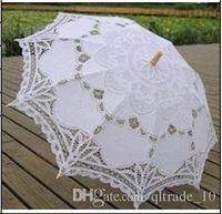 Wholesale 20pcs CCA1993 New Cotton Vintage Battenburg Handmade Embroidered Art Lace Parasol Sun Umbrella Wedding Bridal Party Decoration