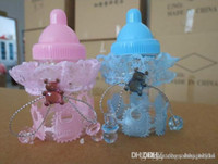 baby shower party plastic 6 to 7pcs Hershey chocolate New baby shower favors Blue pink Milk Bottle Candy Box With Bear Lace Candy Boxes candy bag For baby shower party Decorations supplies