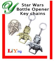 Wholesale star wars bottle openers key chain Millenium Falcon Storm trooper Metal soda beer cap opener zinc alloy party bar tools novelty men gifts