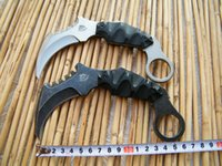 Wholesale THE ONE Doomsday Devil Combat Karambit Fixed Knife Stonewashed Blade Black G10 Handle with Kydex sheath Tek Lok