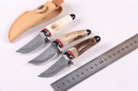damascus hunting knife - High quality Damascus Staghorn Collect knife Mini Damascus hunting knives Camping knife with leather sheath