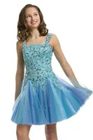 Cheap Spaghetti bead diamond satin soft organza knee length party formal dancing flower girls pageant dresses ball gowns perfect angels pre-teen