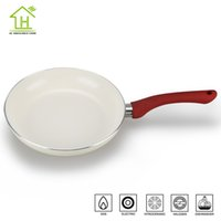 Wholesale 24 cm Eco friendly healthy coating cream ceramic fry pan cheap aluminium cooking pans kitchen pots dishwasher safe