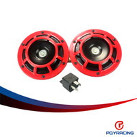 al por mayor electric motorcycle-PQY 2pcs-RACING RED / 1 par 12v 110dB super ruidoso ELÉCTRICA BLAST Air Horn COMPACT TONO PARA MOTO Y COCHE PQY-LB31