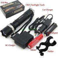 bicycle battery box - CREE Flashlight Lumens Zoomable Cycling Bike led Bicycle Light with AC charger battery box car charger Holder