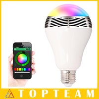 Wholesale LED Light Lamp Bulb E27 Bluetooth Speaker Wireless Light Music Function IN Smart Colorful RGB Bubble Ball Lamp For iPhone Samsung