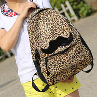 Wholesale Fashion Women Leopard Leisure Backpack With Beautiful Colleague Mustache For Girls And Women Backpack shoulder handbags SV007254