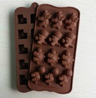 Wholesale Hot selling silicone cake mould chocolate dinosaurs DIY cute animal model oven with Chocolate Mold