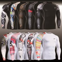 running wear - High elastic tights man cycling wear gym clothing compression wicking T shirt sleeved clothing running clothes