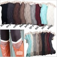 Wholesale 10 color women Crochet lace boot cuffs handmade Knit leg warmer Ballet lace Boot Cuff Leg Warmers Christmas Boot Socks covers