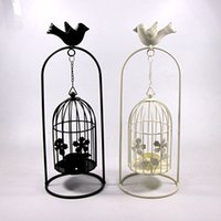 wrought iron - 2015 Vintage candle holder home docor romantic KX8008 large bird cage hanging wrought iron candlestick lan
